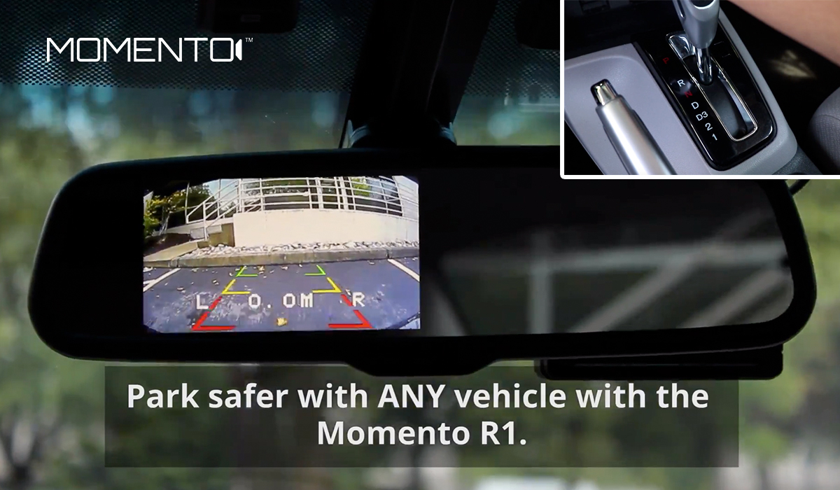 """Momento R1 back-up camera with label """"Park safer with ANY vehicle with the Momento R1."""""""