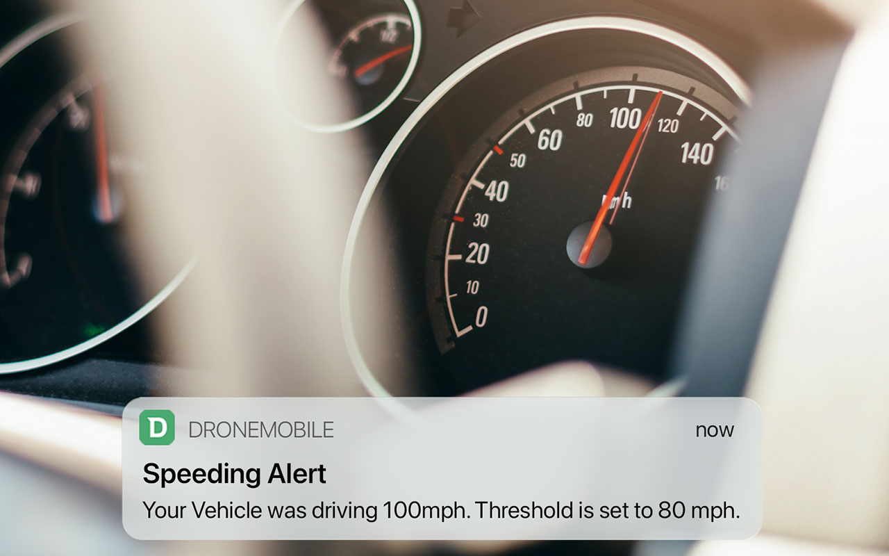 DroneMobile push notification vehicle speeding alert