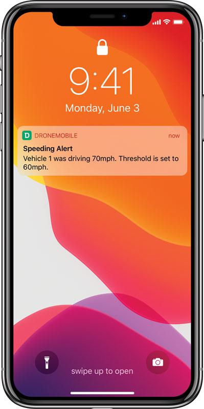 DroneMobile speeding alert on an iPhone lock screen.