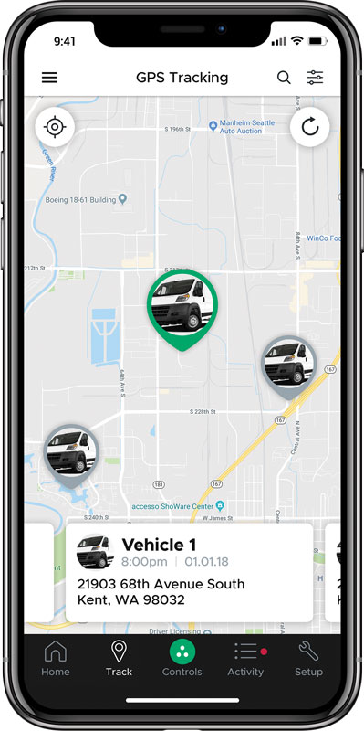 DroneMobile app on the tracking page. The location of three vehicles shown.