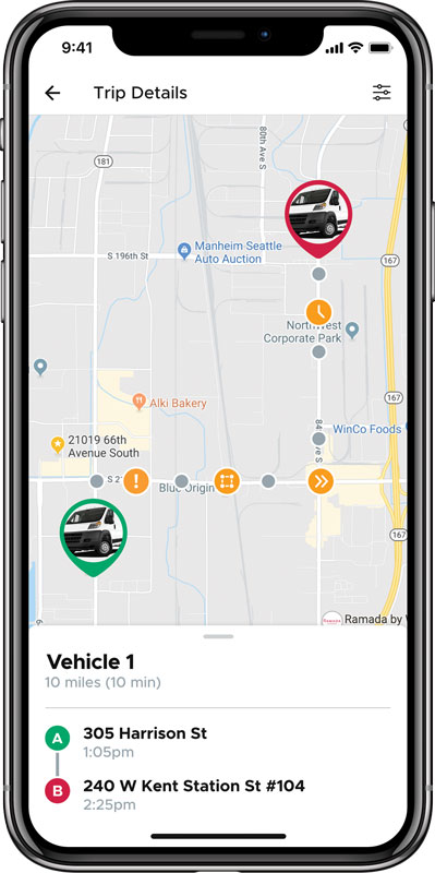 Trip report showing all of the alerts a vehicle received during a trip.